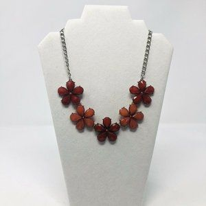 Unbranded Silver Red Flower Beaded Bib Necklace